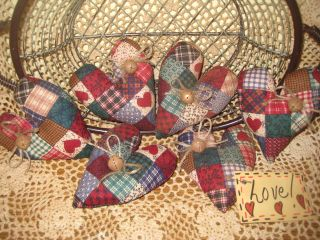 6 Handmade Patchwork Fabric Country Heart Ornies Ornaments Wreath - Making Decor photo