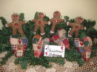 Country Christmas Fabric Gingerbread Patchwork Heart Ornies Ornaments Decor photo