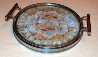 Art Deco Chrome And Glass Drinks Tray With Butterfly Wing Decoration. photo
