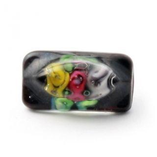 (1) 16mm Czech Victorian Box Floral Lampwork Black Paperweight Glass Button photo
