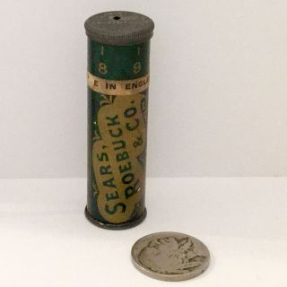 Vintage Needle Tin Case Sewing Dial Size Advertising Sear Roebuck Antique Steel photo