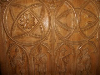 Second French Gothic Style Oak Panel - Cathedral Of Reims - 1860 photo