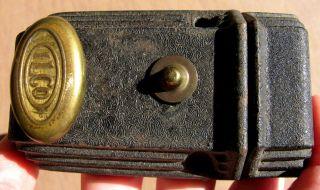 Antique Ilco Art Deco Surface Mount Cast Iron Dead Bolt Door Lock W/ Receiver photo