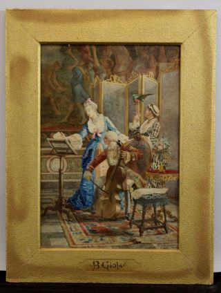 Antique Belisario Gioja Italian Watercolor Painting Cello Player & Woman Singing photo