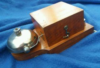 Antique Vintage Old Wooden Electric Door Railway Butler Alarm Bell Wood Brass photo