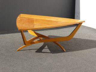 Vintage Designer Mid Century Danish Modern Solid Wood Triangle Coffee Table photo