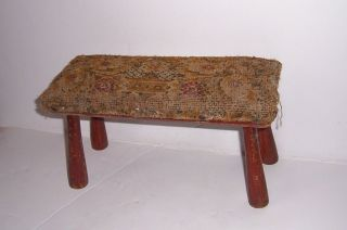 Vintage Antique Early Small Parlor Stool With Material 1800s photo
