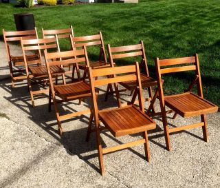 8 Vintage Mid Century Modern Wood Slatted Folding Chairs Made In Romania photo