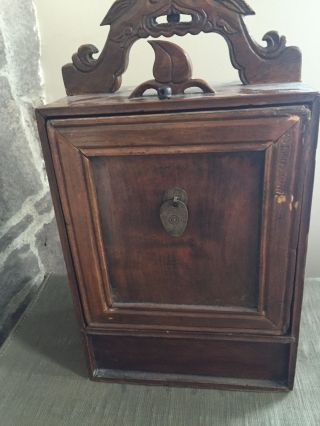 Vintage Small Wood Asian Jewelry Cabinet Wth Hidden Comparment photo
