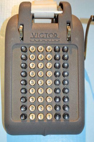 Antique Vintage 6 Row Victor Adding Machine Champion 54 Key 1940 - 50 ' S photo