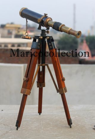 Marine Navy Nautical Brass Telescope With Tripod Stand Handmade Vintage Spyglass photo