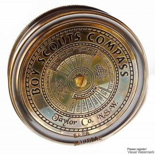 Brass - Antique - Compass - Boy - Scouts - Compass - With - Fifty Years Calendar photo