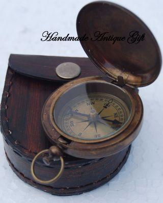 Antique Compass Push Button Compass W/leather Case Brass Compass Compass photo