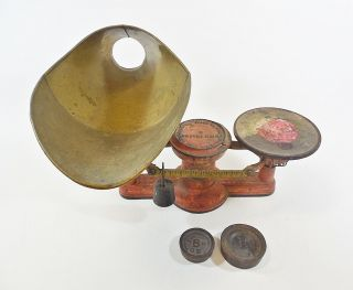 1867 Howe Co 6 Lb Antique Candy Scale W/ Brass Funnel Scoop & 1b,  8oz Weights photo