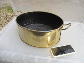 Vintage Brass Jam Pan Fish Kettle Poacher Trough Tub Planter Plant Pot Antique photo