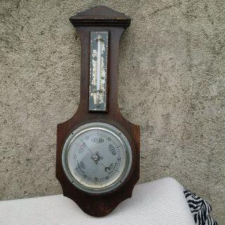 Vintage Antique Aneroid Banjo Barometer & Thermometer / Weather Station photo
