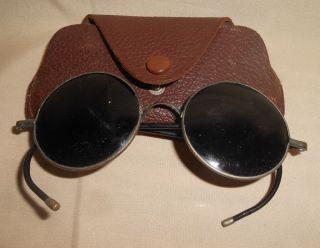 Antique Sunglasses Black Round With Case photo