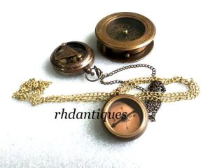 Nautical Vintage Replica Magnifying Compass With Necklace Compass Watch photo