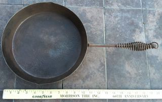 Antique Primitive Rustic Steel Skillet Insulated Hand Grip W/end Loop photo
