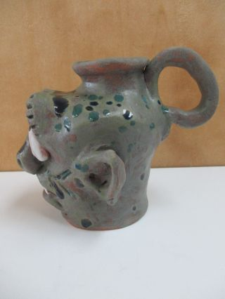 Signed Chad Weisner Face Jug Catawba Valley Pottery North Carolina Face Jug 5.  5