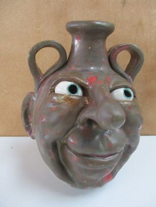 Signed Chad Weisner Face Jug Catawba Valley Pottery North Carolina Face Jug 7.  5
