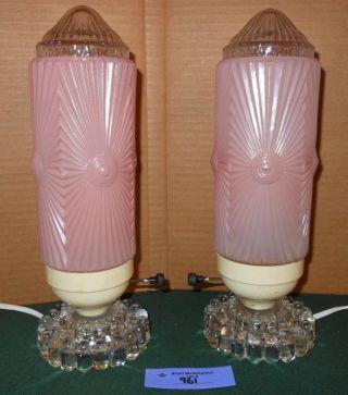 2 Vtg Art Deco Pink Skyscraper Torpedo Bullet Glass Table Lamp Light photo
