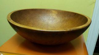 Vintage Wooden Round Primitive Bread Bowl photo