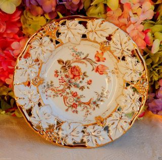 C Tielsch German Porcelain Plate Floral Scrolls Pierced Gold Gilt photo