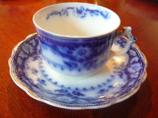 1925 Crumlin Flow Blue Myott & Sons England Tea Cup & Saucer Semi Porcelain L 2 photo