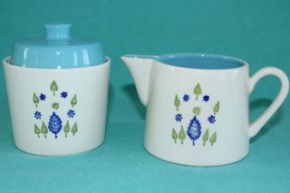 Mcm Mad Men Marcrest Alpine Swiss Chalet Ceramic Cream & Sugar Green Blue Usa photo