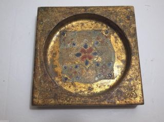 Vintage Italian Florentine Toleware Wood Pin Tray Ashtray Trinket Dish Florentia photo