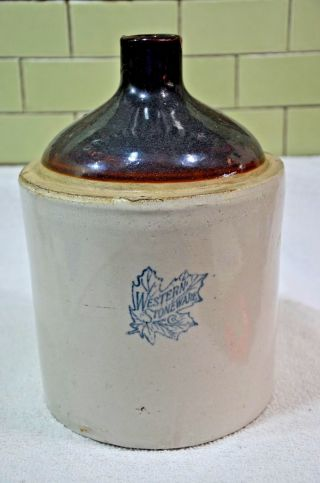 Vtg.  Antique Collectible Western Stoneware 1 Gallon Whiskey Moonshine Crock Jug photo