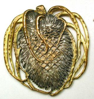 Antique Pierced Brass Button Detailed Pine Cone Design - 1 & 9/16 photo