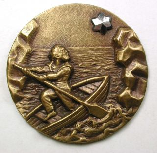 Antique Stamped Brass Button Man Rowing Boat Towards Cut Steel Star - 1 & 3/8