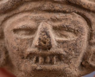 Zapotec Terracotta Underworld Deity Head - Precolumbian Artifact - Ancient Pottery photo