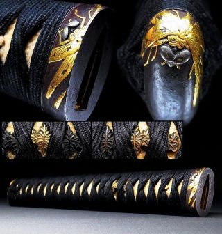Long Tsuka Of Katana Sword W Dragonfly Fuchi/kashira & Kamon Menuki C662 photo