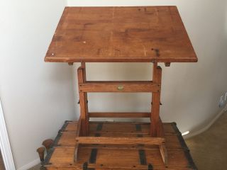 Antique Anco Bilt Architect Drafting Drawing Solid Wood Cast Iron Work Table photo