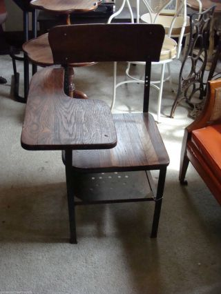 Antique Vintage Metal & Wood Child School Desk Steampunk Design photo