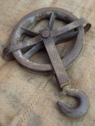 Vintage Well Pulley Wheel & Hook Old Garden Interior Design Industrial Iron Tool photo