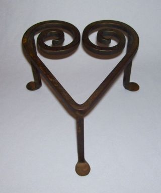 Vintage Solid Wrought Iron Heart - Shaped Hearth Or Fireplace Trivet W/3 Legs photo