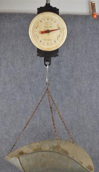 Scale Hanging Basket Chatillon Large Galvanized 30 Lbs.  Antique Vintage 1930 photo