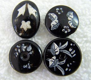(4) Antique Stunning Handpainted Black Glass Buttons Floral Themes Self Shank L photo