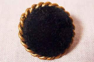 Antique Victorian Black Velvet & Brass Button 7/8