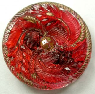 Antique Lacy Glass Button Bright Red Floral W/ Gold Luster - 13/16