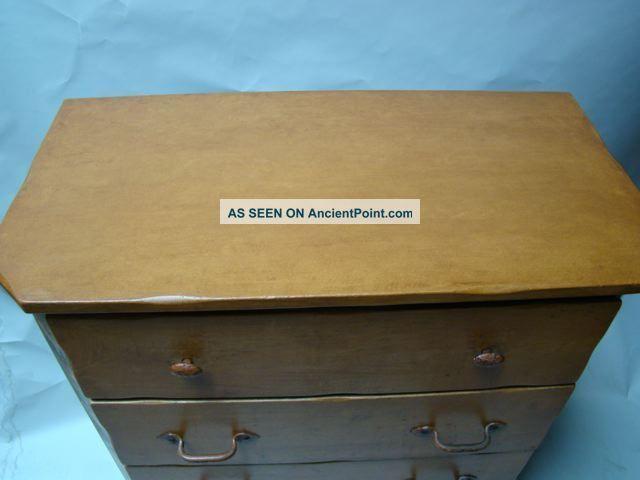 Monterey Middle Period Green Crackle Dresser With Floral Decoration 1900-1950 photo