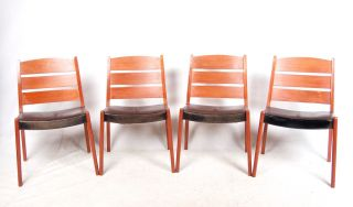 4 Retro Danish Dining Chairs Teak Leather Dining Chairs 1960s 1970s Vintage photo