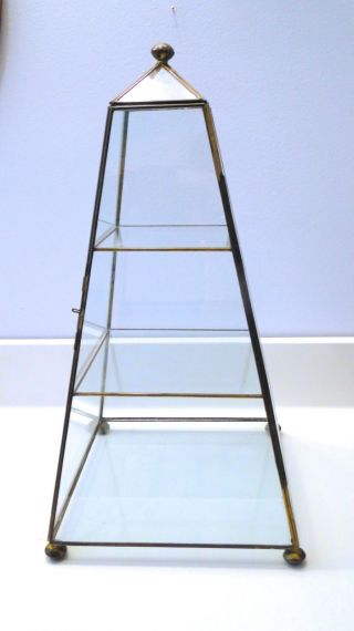 Vintage Brass Glass Pyramid Miniature Display Curio Cabinet Case 18