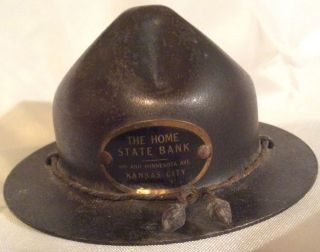 Stronghart Doughboy Soldier Hat Bank Metal - Home State Bank.  Kansas City photo