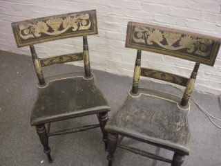 Pair Black Victorian Hitchcock Style Chairs Gilded Antique Gold photo