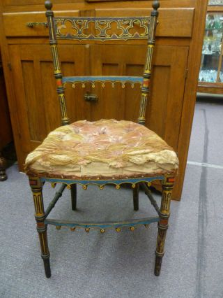Antique Victorian Aesthetic Movement Orig Painted Side Chair Period Circa 1875 photo
